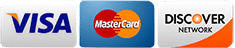 We accept Visa, Mastercard, and Discover Cards.